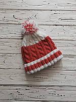 Вязаная шапка с помпоном оранжевый цвет