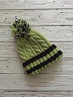 Вязаная шапка с бубоном оливкового цвета, шерстяная вязаная шапка, яркая вязаная шапка с помпоном