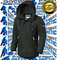 Модная зимняя мужская куртка парка Braggart Arctic - 3587 хаки