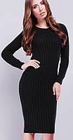 Длинное вязаное черное платье