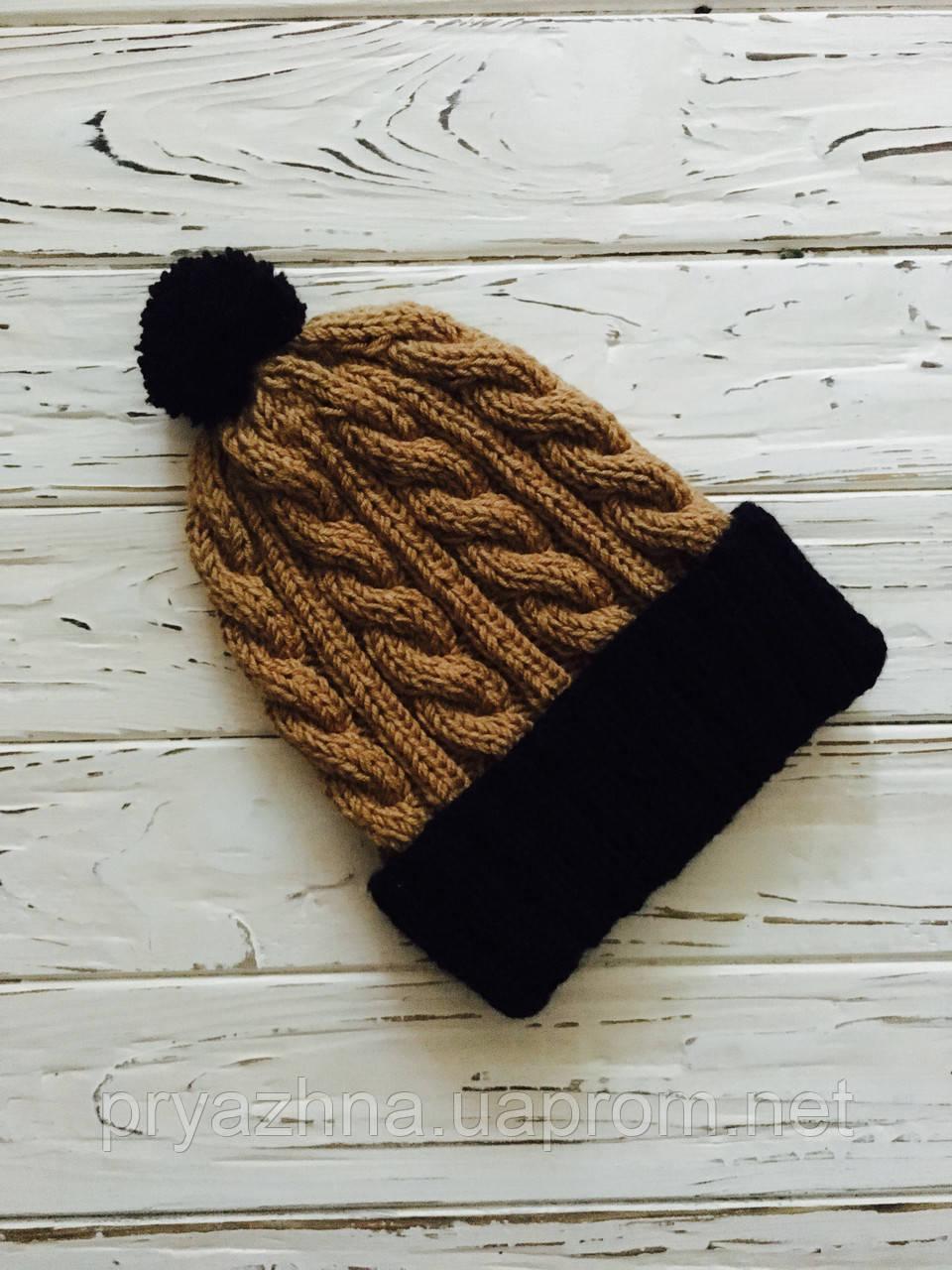 мужская вязаная шапка коричневый цвет вязаная шапка с помпоном