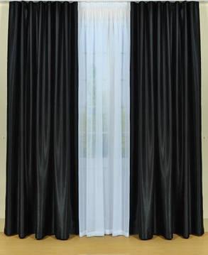 Шторы портьерные Шанзелизе Черные (2 шторы), фото 2