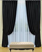 Шторы портьерные Шанзелизе Черные (2 шторы)