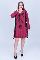 Женская туника БАТАЛ. Цвет  бордовый. КОД 605 размер (54 56), фото 1