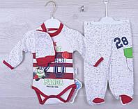"""Комплект детский """"Sport Panda"""" (3 предмета). 3-6-9 месяцев. Белый. Оптом."""