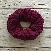 Вязаный зимний шарф воротник, снуд (труба), ручная работа