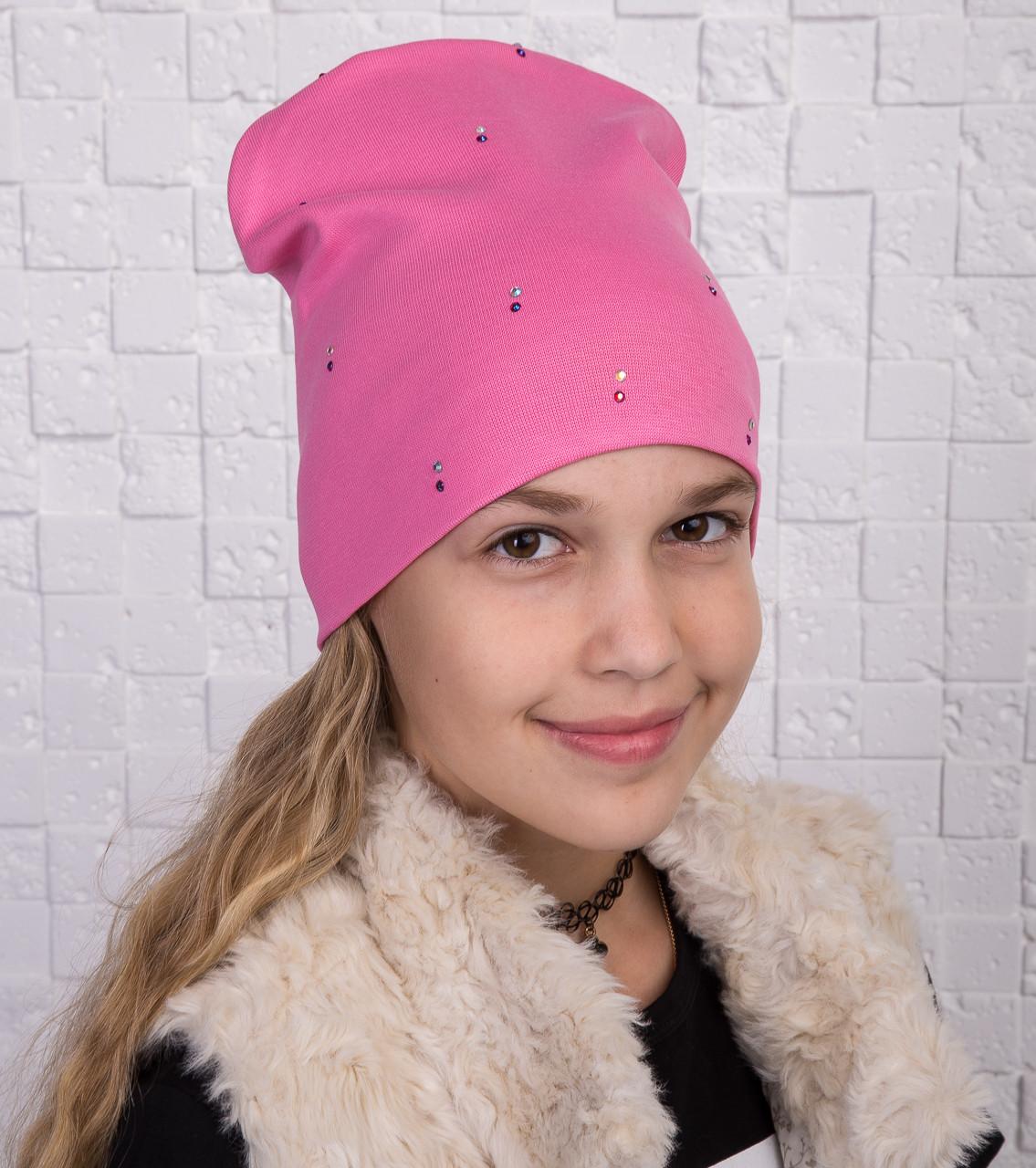 Осенняя однотонная шапка для девочки - Артикул 2124