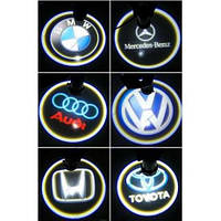 Светодиодная подсветка на двери с логотипом автомобиля BMW, Opel, Lada, Nissan, Mitsubishi, Toyota, Hyundai ..
