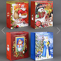 """Подарочный пакет Новый год  """"Merry Christmas"""" 4 вида, 26*32*10см"""