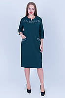 Женское платье с жемчугом.  темно-зеленое(бутылка),разм 54, фото 1