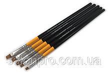Набор кистей для дизайна, гелевого моделирования 5 в 1 (черные)