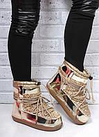 Женские золотые луноходы, снегоходы, мунбуты, moon boot