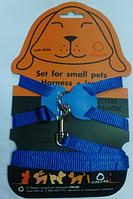 Шлея Collar Dog Extreme нейлон для кроликов с держателем шир.15 мм, B:30-45 см, красная/синяя/черная