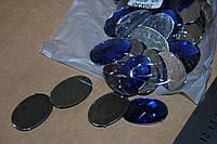 Камень с гранями на клей овал  синий