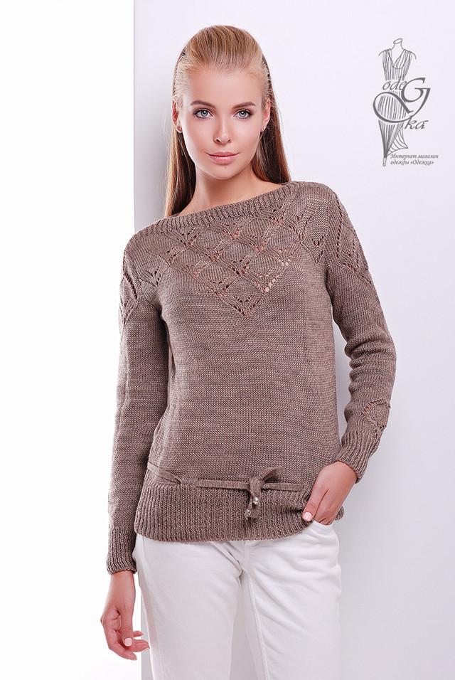 Цвет Кофе Вязаных шерстяных женских свитеров Лагода