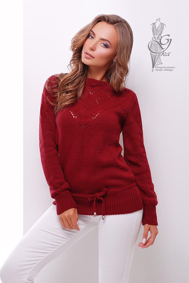 Цвет Бордовый Вязаных шерстяных женских свитеров Лагода