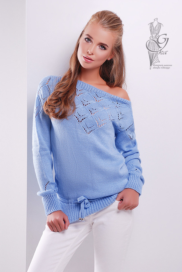 Цвет голубой Вязаных шерстяных женских свитеров Лагода