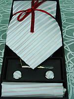 Набор  мужской  галстук,запонки,зажим и платочек в подарочной коробке, фото 1