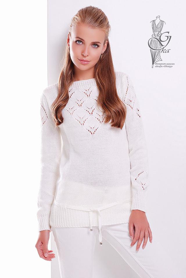 Цвет Молоко Вязаных шерстяных женских свитеров Лагода