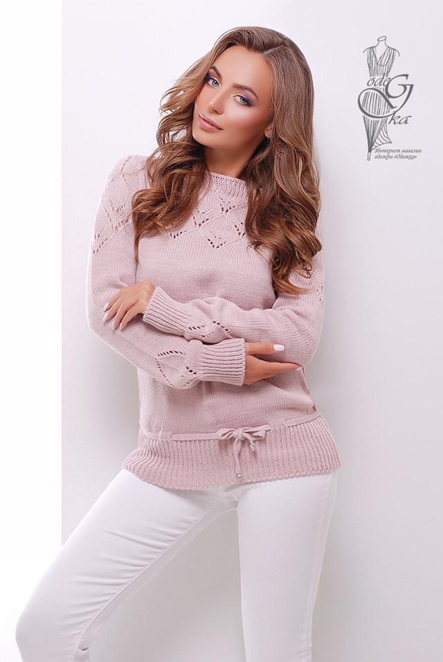 Цвет Пудра Вязаных шерстяных женских свитеров Лагода