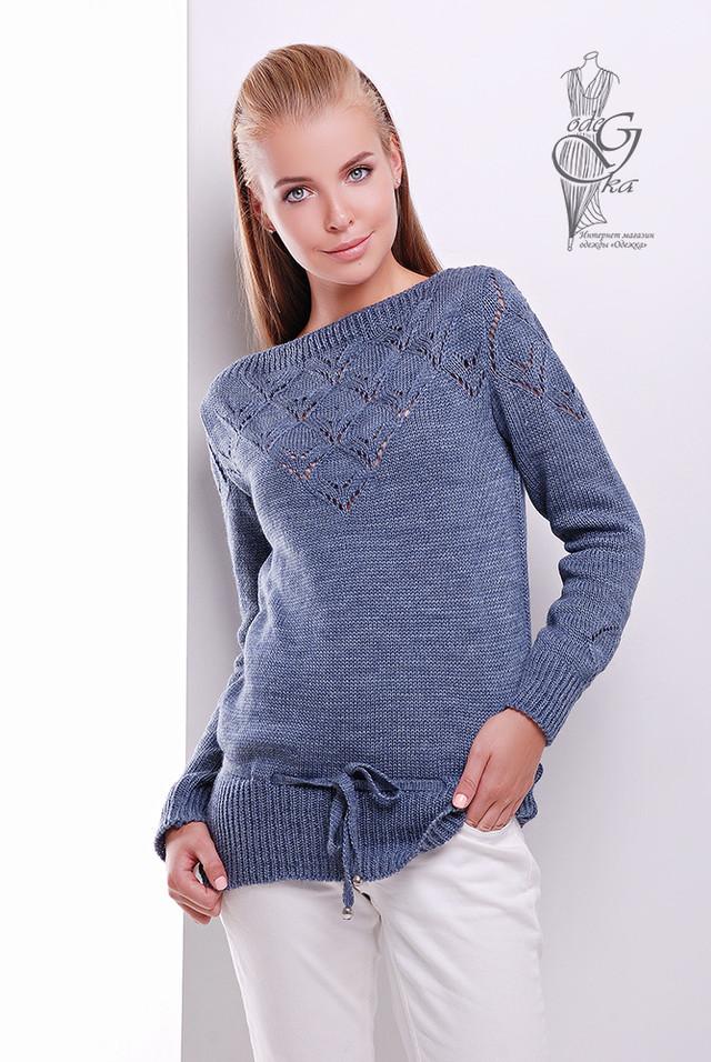Цвет Джинс Вязаных шерстяных женских свитеров Лагода