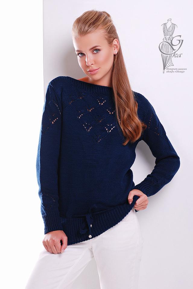 Темно-синий цвет Вязаных шерстяных женских свитеров Лагода