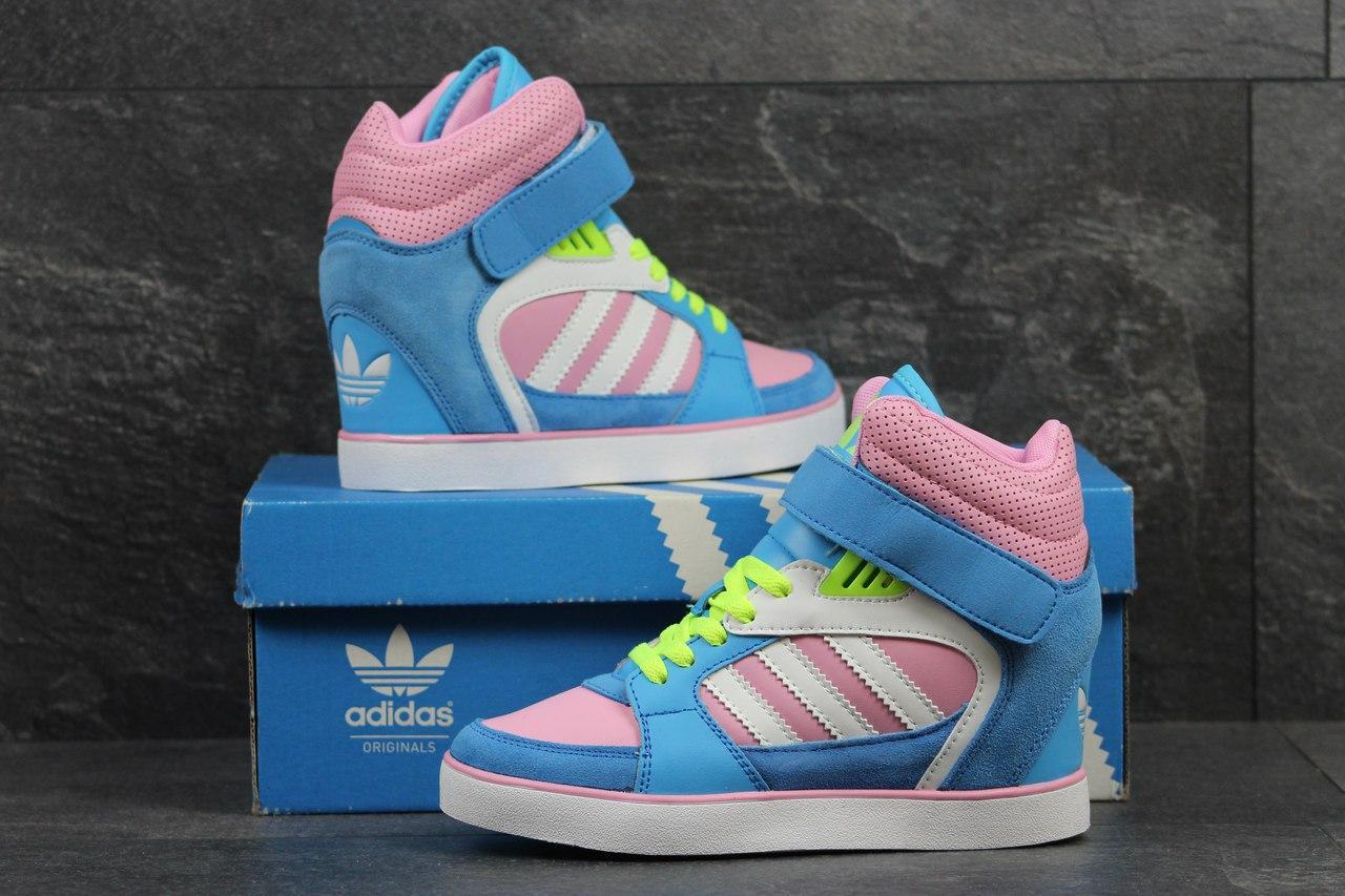 Женские высокие кроссовки,сникерсы Adidas,голубые с розовым 36,37,40р - 49fc6dedda3