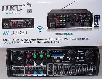 Усилитель звука UKC AMP AV-326BT 2*120W c Karaoke и Bluetooth