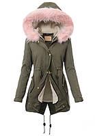Парка женская хлопковая  2в1 зима-осень с цветным мехом №2