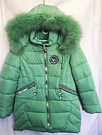 Полу-пальто зимнее детское пальто зимнеес мехом для девочки 5-9лет,мятное