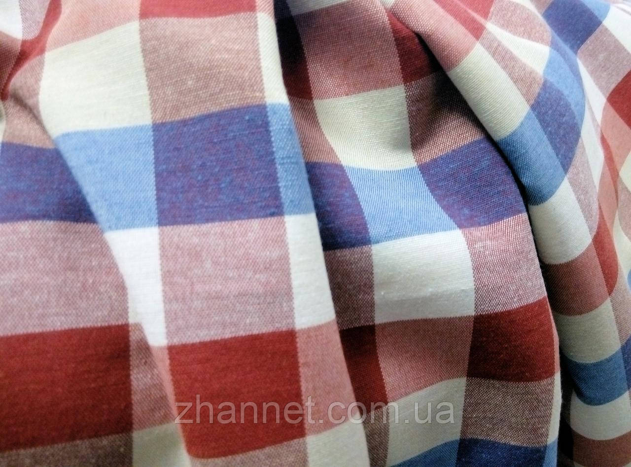 Тканина в клітку Marisa бордо-синій