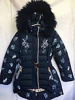 Полу-пальто зимнее детское пальто зимнеес мехом для девочки 2-6лет,темно синее