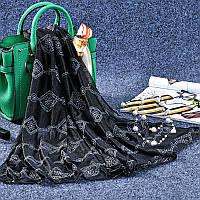 Стильный легкий женский шарф с принтом черного цвета