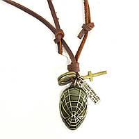 Подвеска Spiderman на кожаном шнурке в коричневом цвете