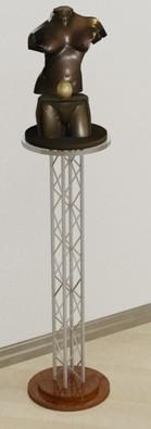 Подставка напольная ПН 122 из металлической конструкции и деревянной столешницы