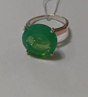 Кольцо из серебра 925, золотых пластин 375 и зеленого циркония Круг