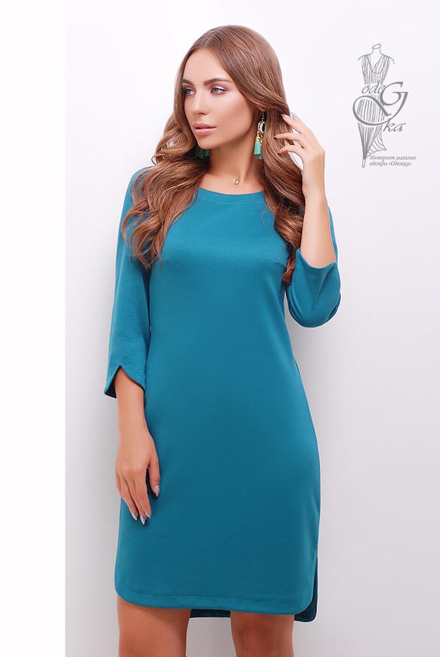 Бирюзовый цвет Асимметричного женского платья Краля