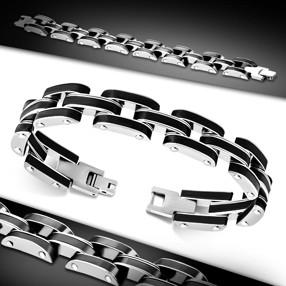 Мужской браслет черная резина и нержавеющая сталь
