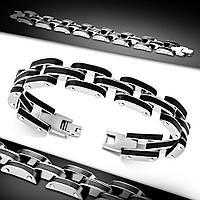 Мужской браслет черная резина и нержавеющая сталь, фото 1