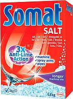 Соль для мытья посуды в посудомоечной машине Somat 3X действие, 1500 г