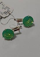 Серьги женские из серебра с золотом и зеленым камнем вставкою Круг