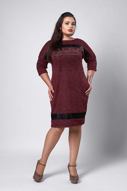 Женское платье из трикотажа ангора свободного кроя, 50