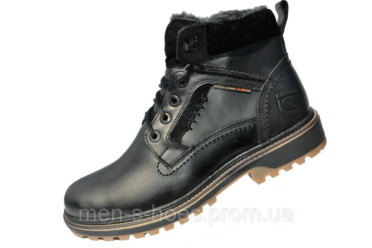 Кожаные мужские зимние ботинки Riccone Black -