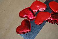 Тканевый декор Сердце красное  парча.