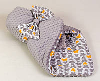 "Конверт - одеяло ""Бабочки на сером"" плюш+хлопок"