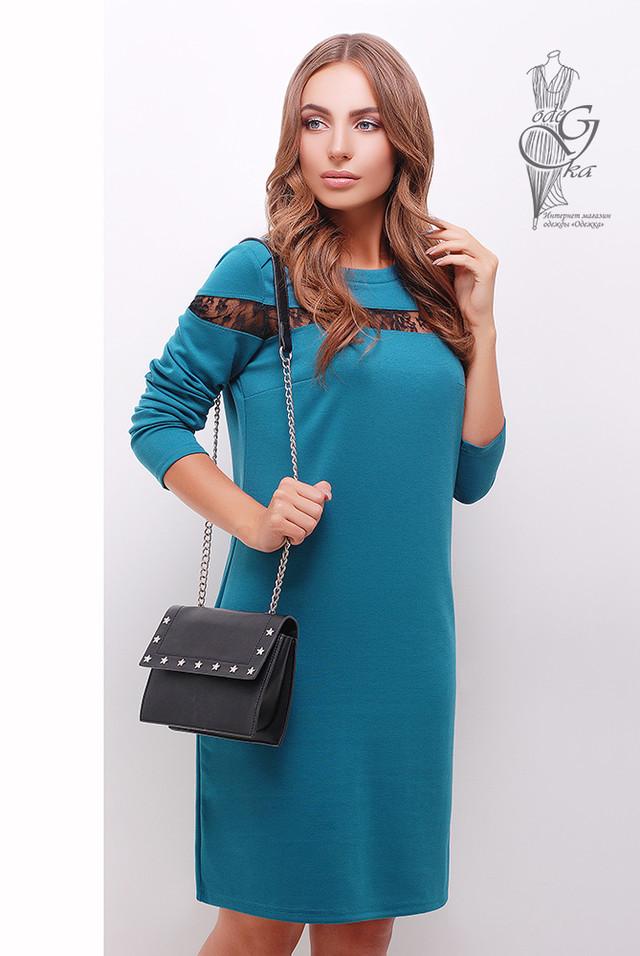 Бирюзовый цвет Делового платья с кружевом Флора