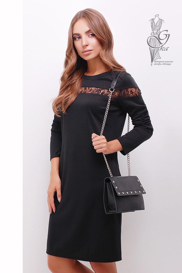 Черный цвет Делового платья с кружевом Флора