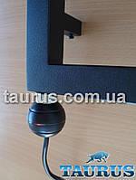 Чёрный электроТЭН для полотенцесушителя REG2 black: подсветка + кнопка питания (автотермостат 65 градусов)