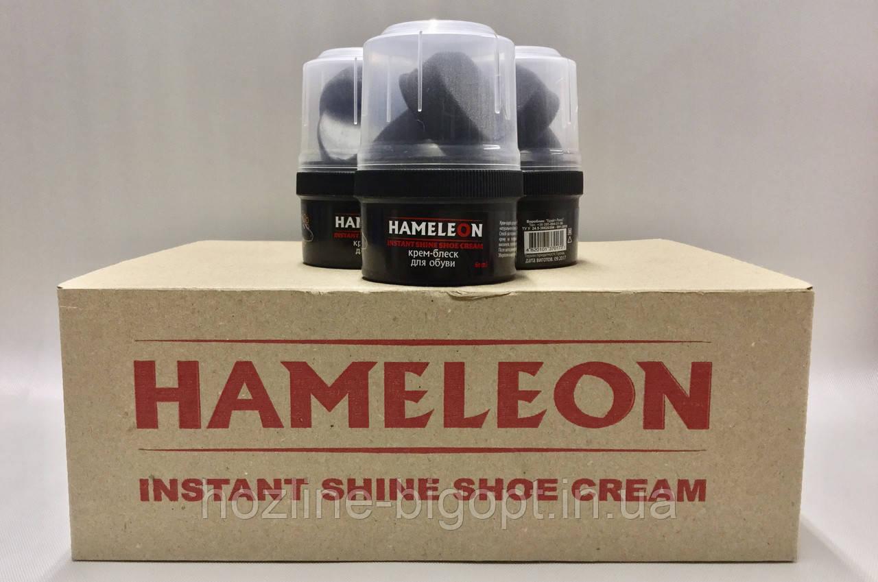 HAMELEON Крем-Блиск для взуття з воском 60 мл ЧОРНИЙ