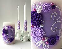 Свадебные свечи сиреневые